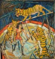 "Heinrich Richter-Berlin ""Tiger Training"" Oil Paint, 1979"
