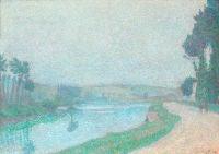 Bord de LOise a laube Pontoise by Louis Hayet