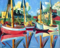 Fishing Boats in the Afternoon Sun by Max Pechstein
