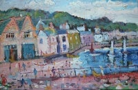 Sunday Afternoon, Mousehole: Contemporary Outsider Art Oil Painting