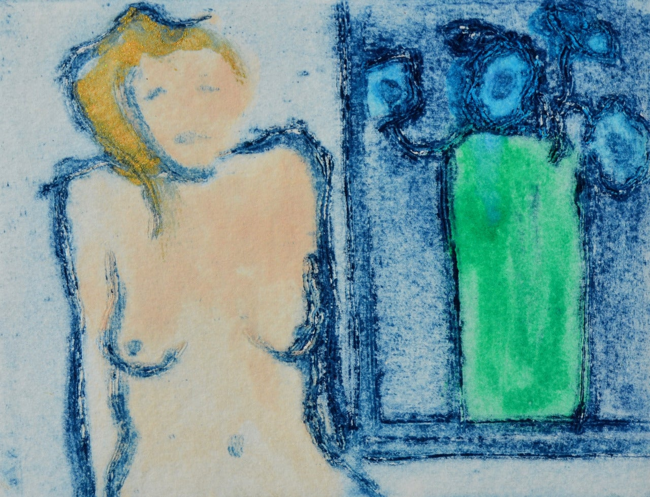 Ian Laurie Nude Print - Green Vase