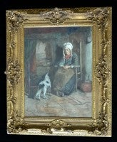 Seated Woman With Her Dog