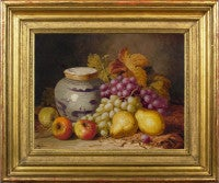 Still life of pears, apples, grapes and a Chinese jar