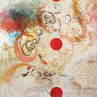 Between Sleep and Dreams One, Cream and Red Abstract Encaustic Square Painting