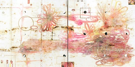 Lorraine Glessner Abstract Painting - Flirtatious Superficiality, Large Abstract Encaustic Diptych in Cream and Pink