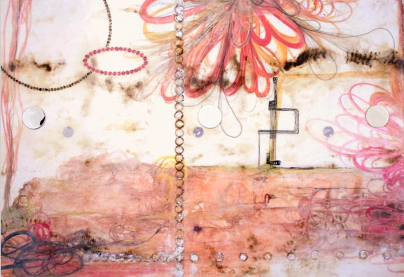 Flirtatious Superficiality, Large Abstract Encaustic Diptych in Cream and Pink  - Painting by Lorraine Glessner