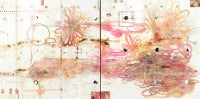 Flirtatious Superficiality, Large Abstract Encaustic Diptych in Cream and Pink