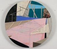 Clearstory II, Round Geometric Abstract Pink Taupe Text Linen Acrylic Painting
