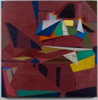 What We Bring With Us, Square Geometric Abstract Colorful Maroon Oil Painting
