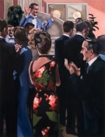 FD, Vertical Figurative 1930's Film, Party, Salmon, Red, Green, Black