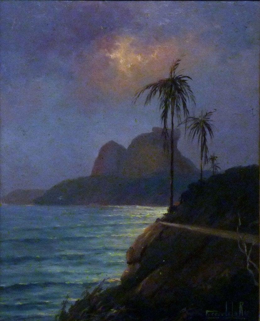 Francisco Coculilo Night Near The Sea Rio Painting At