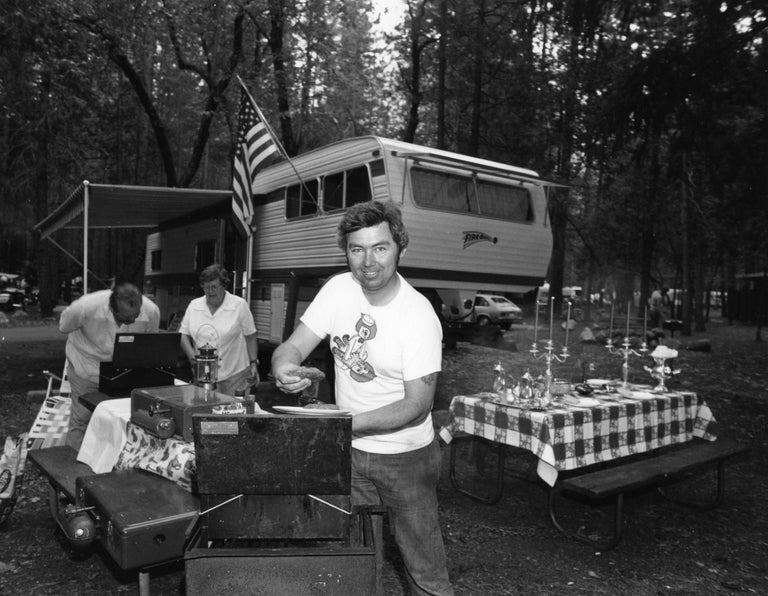 Bill Owens Black and White Photograph - Every summer we go all out on our camp in Yosemite, from Leisure