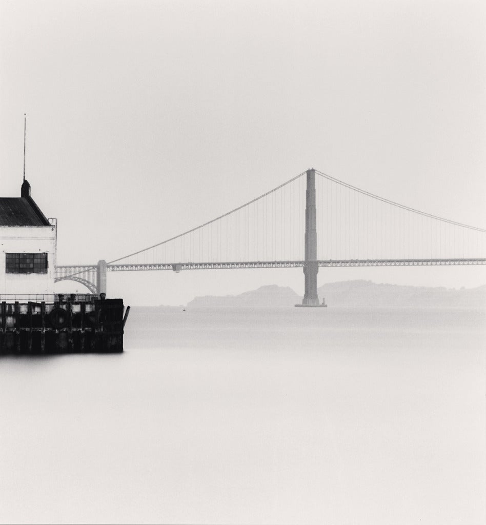 Michael Kenna Black and White Photograph - Fort Mason Pier 3, Golden Gate Bridge, San Francisco, CA
