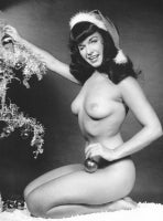 Bettie Page Nude with Christmas Tree