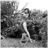 Bettie Page in Leopard-skin suit with Cheetah