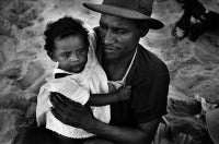 Father and Baby Daughter on the Beach, Coney Island