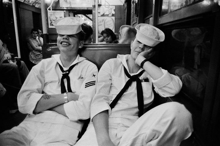Harold Feinstein Portrait Photograph - Sailors on the Subway from Coney Island