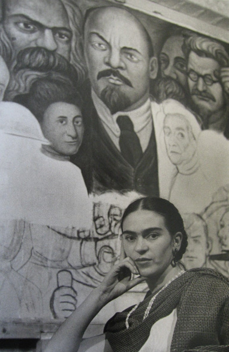 Lucienne Bloch Portrait Photograph - Frida in front of the Unfinished Unity Panel, New Workers School, NY