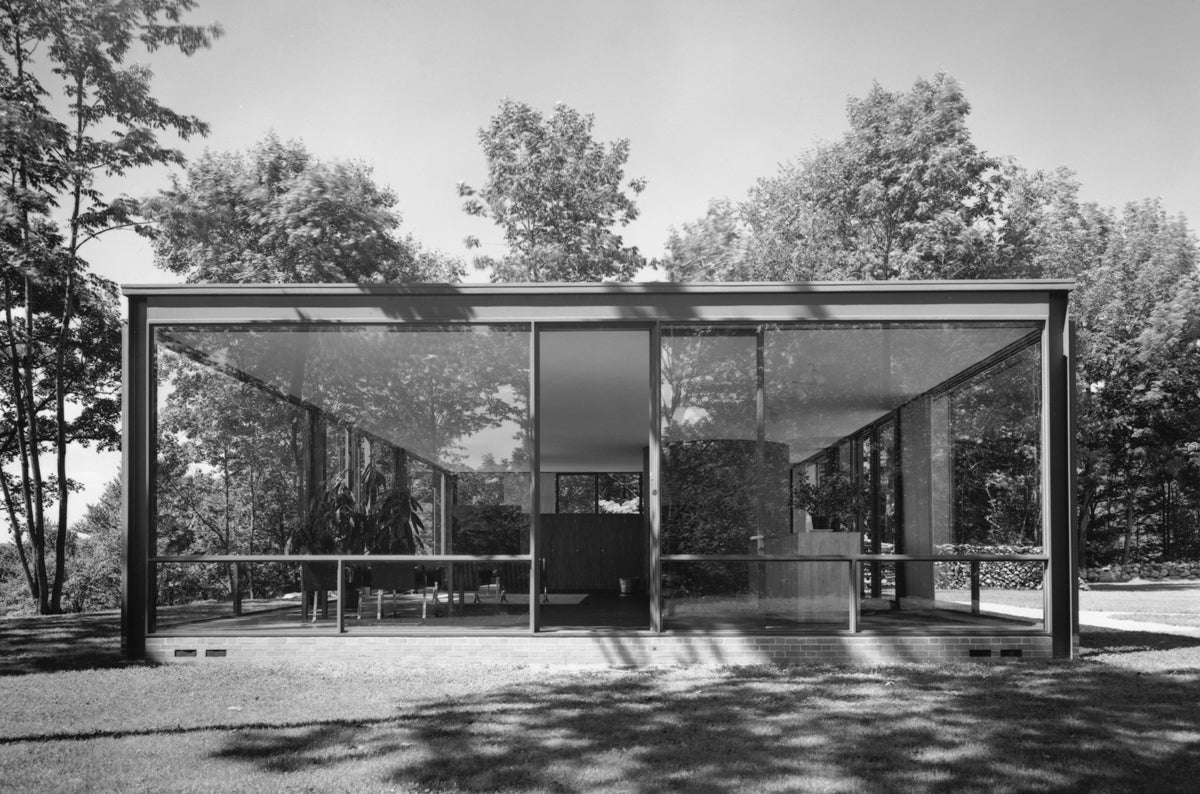 ezra stoller glass house philip johnson new canaan ct photograph for sale at 1stdibs. Black Bedroom Furniture Sets. Home Design Ideas