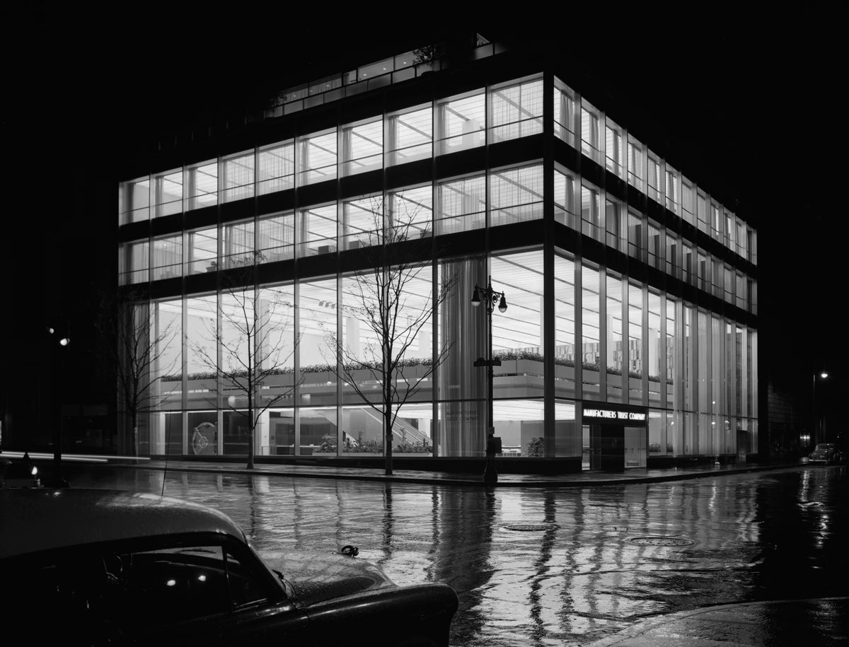 Ezra Stoller Black and White Photograph - Manufacturer's Trust Company, Fifth Avenue, Skidmore, Owings & Merrill, New York
