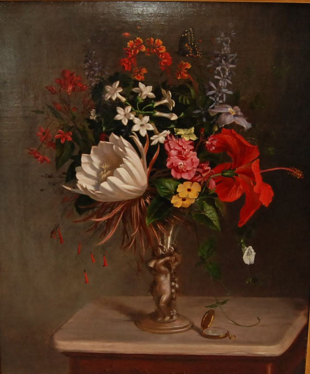 Gustavus Behne - Still Life Oil Painting of Flowers in a ...
