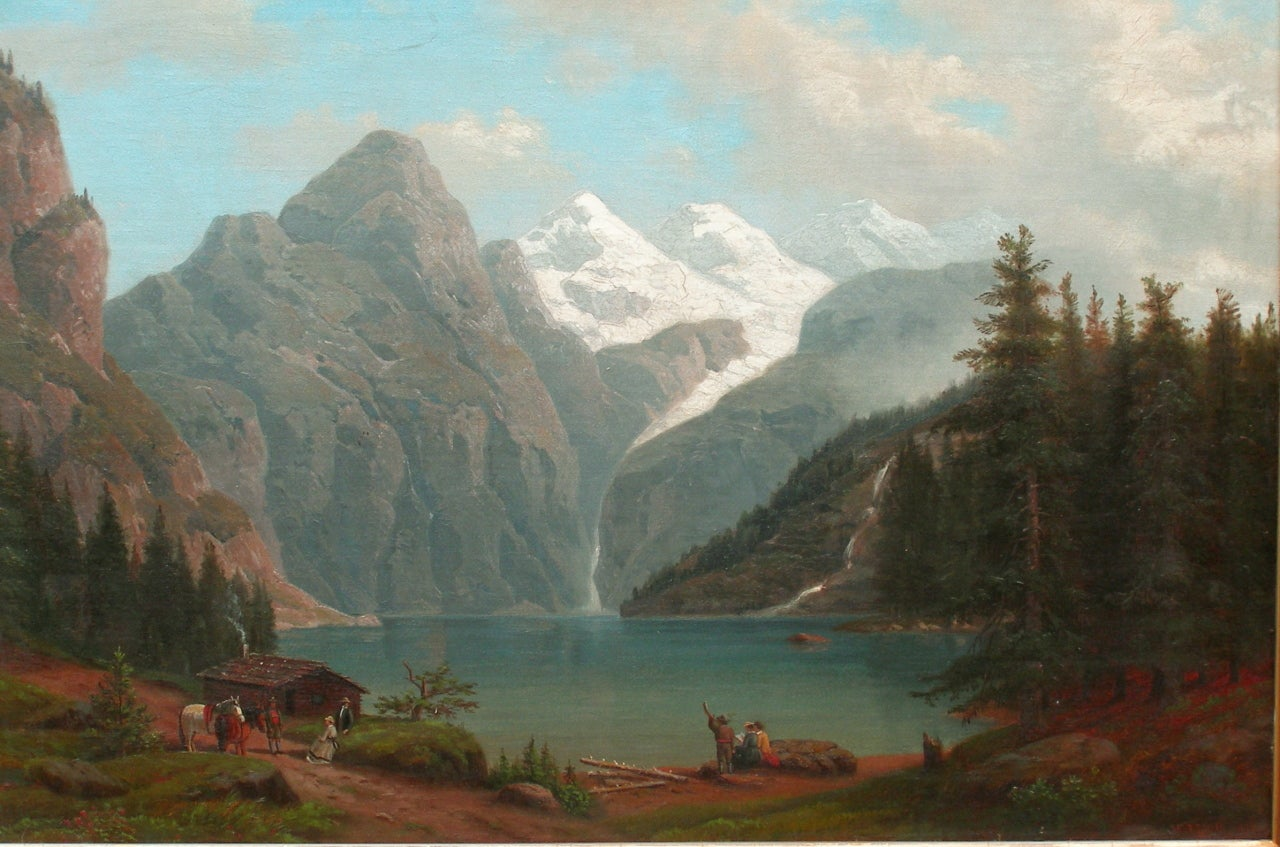 Henry Lewis 19th Century Alpine Landscape Painting By
