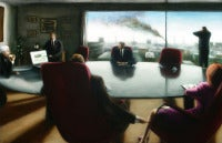 Board (Interior Painting of Wall Street Business Meeting with view of the City)