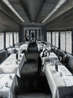 Untitled (Contemporary Black and White Painting of a Train's Dining Car)