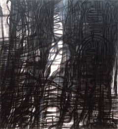 Cascade (Large Contemporary Black & White Gestural Abstract Painting)
