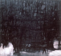 Curtain (Monochromatic Black & White Abstract Minimalist Painting on Canvas)