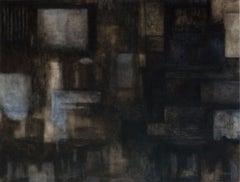 Garden (Black Monochromatic Abstract Minimalist Painting on Canvas)