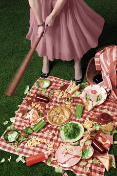 Life's a Picnic (Modern Figurative Photograph of 1950's Housewife in Pink Dress)