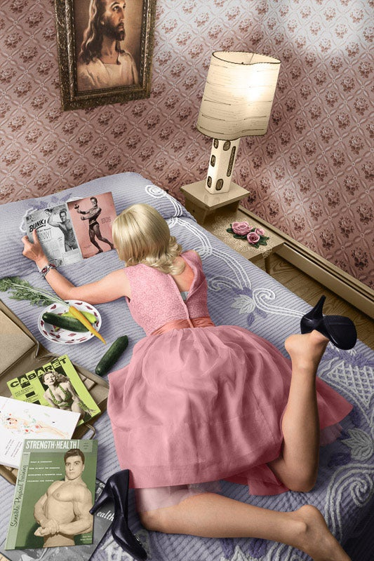 Newbold Bohemia Color Photograph - Pages of a Magazine (Modern Photograph of Blonde 1950's Housewife in Pink Dress)