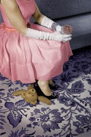 The Good Wife (Modern Photograph of 1950's Housewife in Pink Dress & Diamonds)