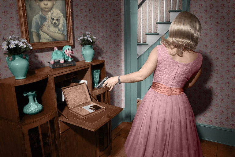 Newbold Bohemia Color Photograph - Widow Maker (Modern Photograph of Sinister 1950's Housewife in Pink Dress)