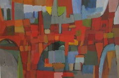 City (Abstract Expressionist Cityscape Painting with Earth Tone Palette)