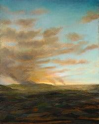 Incident: Large Framed Vertical Luminist Style Oil Landscape Painting