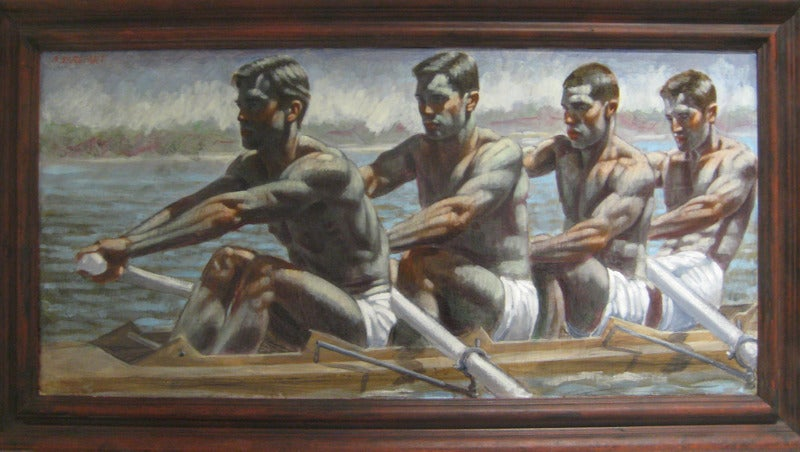 Mark beard four rowers painting at 1stdibs for Abercrombie mural