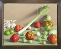Still Life with Tomatoes, Green Apples, and Leek