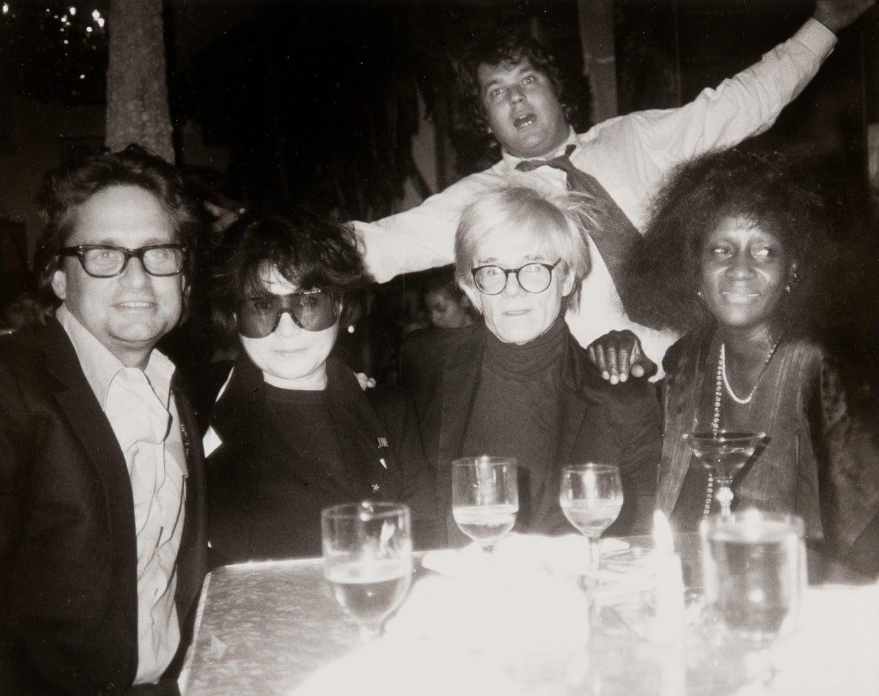 Andy Warhol, Michael Douglas, Yoko Ono, Jann Wenner, and Unidentified Woman - Photograph by Andy Warhol