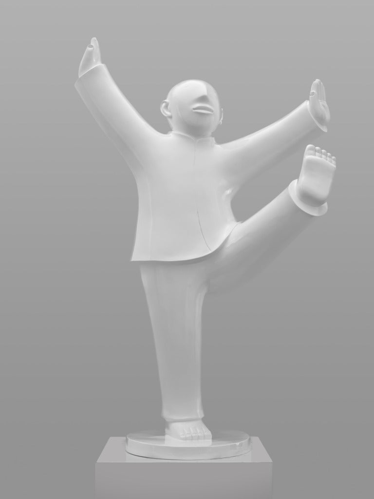 Large Bronze Sculpture - Tai Ji (Tai Chi) by noted Chinese artist Xie Ai Ge - Gray Figurative Sculpture by Xie Ai Ge