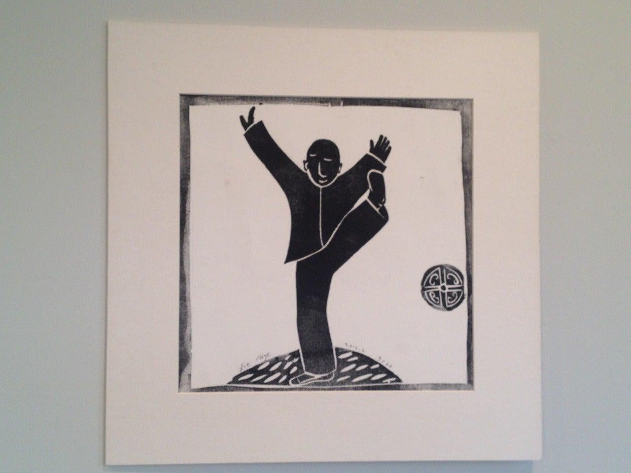 Wood block print - Tai Ji (Taichi) 5 For Sale 1