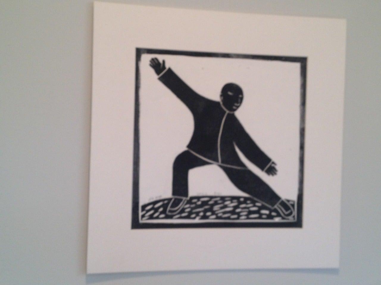 Wood block print - Tai Ji (Taichi) 5 For Sale 2