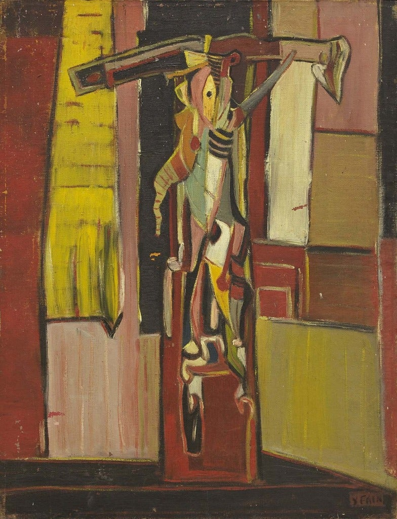 Starkly powerful early work in response to the Holocaust, this abstracted painting contains imagery of a crucified man with tefillin. Jewish artists working with the image of the crucifixion are noteworthy for their rarity, but more importantly,