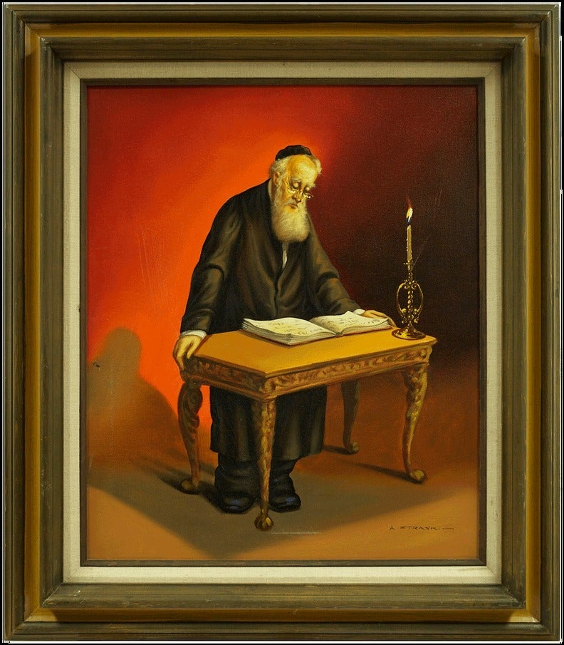 Abraham Straski Oil Painting Of Rabbi Painting At 1stdibs