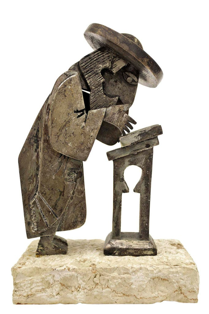Frank Meisler - Untitled, (Rabbi at Study) Israeli Sculpture at 1stdibs
