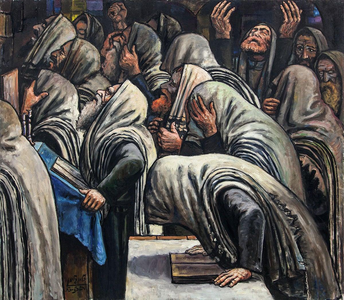 Zalman Kleinman Untitled Prayers At The Synagogue At