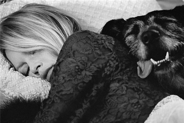 Terry O'Neill Black and White Photograph - Brigitte Bardot (Bed with Dog)