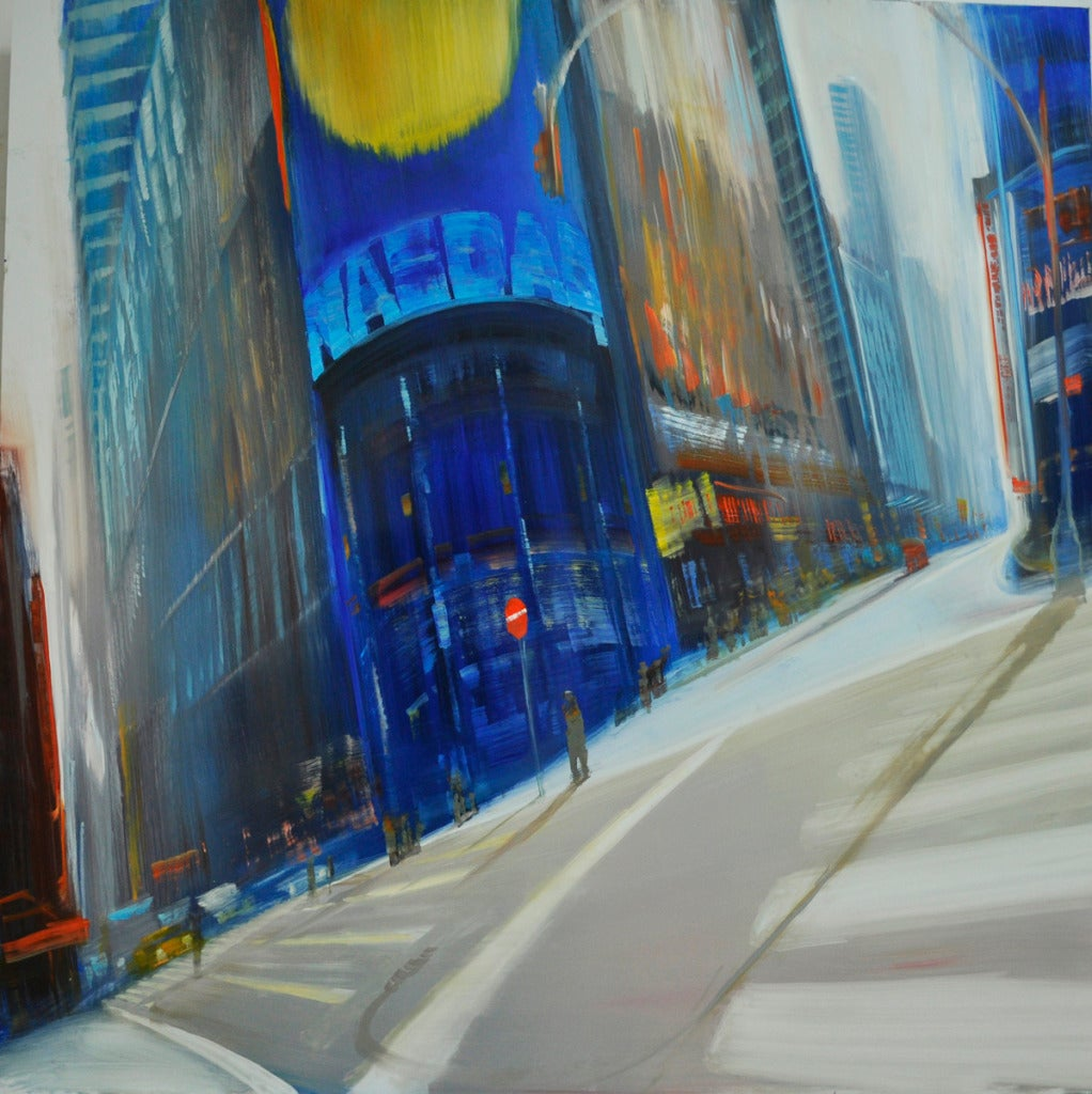 David allen dunlop nasdaq at time square painting at for Painting anodized aluminum
