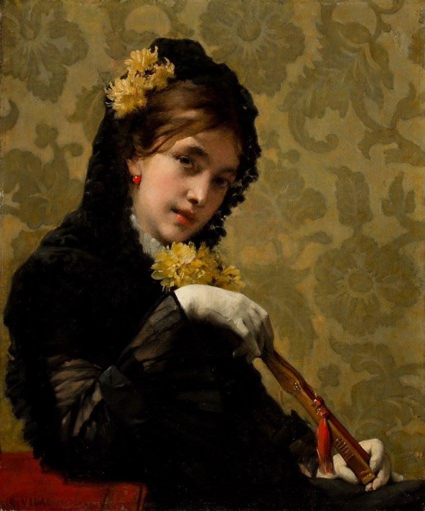 Eugene Vincent Vidal Portrait Of A Woman With A Fan